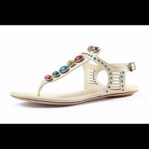Gucci Lika Embellished Thong Sandal, White